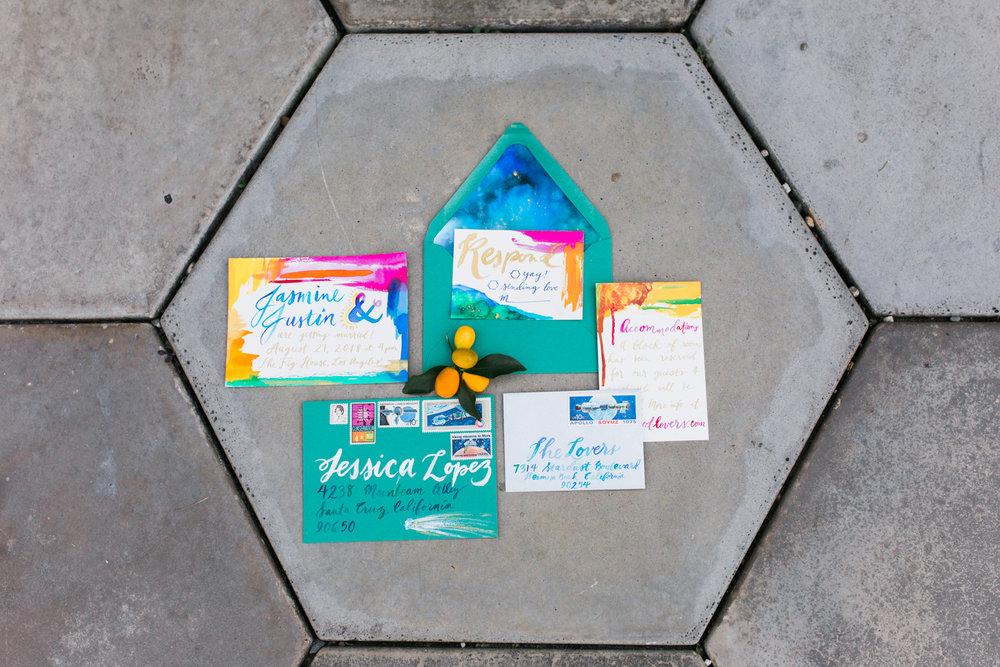 Pigment & Parchment bold and bright custom wedding invitation