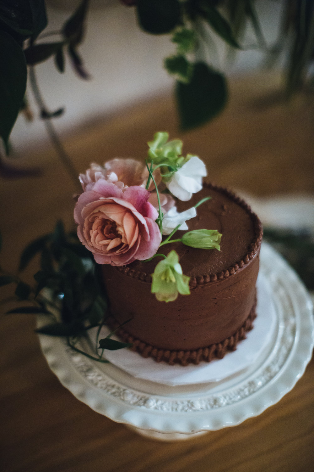 Mini Chocolate Wedding Cake with Fresh Flowers, Joy The Baker, Art & Soul Events, Photographer: Rad + In Love
