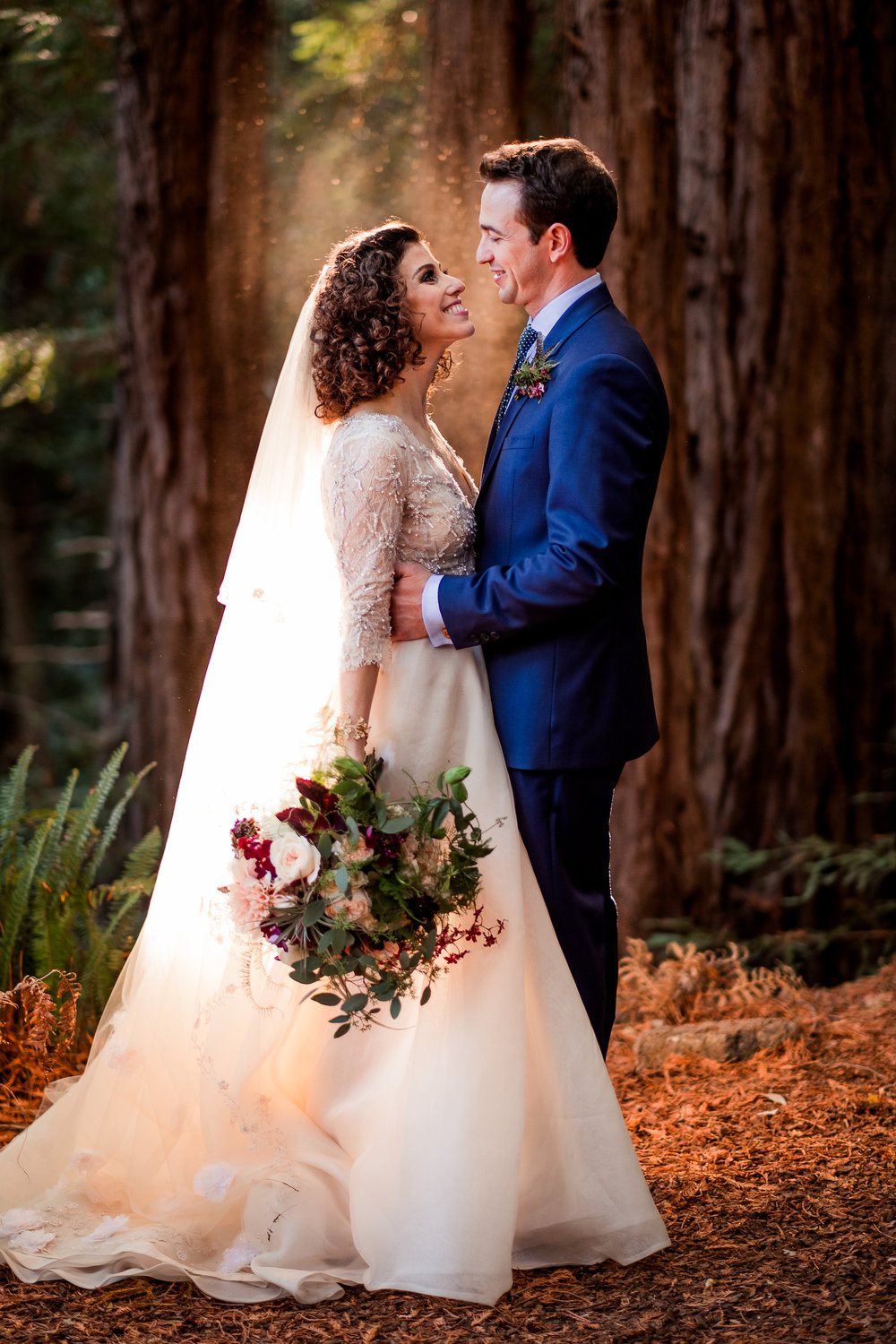 Magical Woodland California Wedding Venue,  Sequoia Retreat Center Wedding, Planning by Art & Soul Events, Nordica Photography, Bride & Groom, Air Plant bouquet with flowers, Monique Lhuillier gown and Claire Pettibone Veil