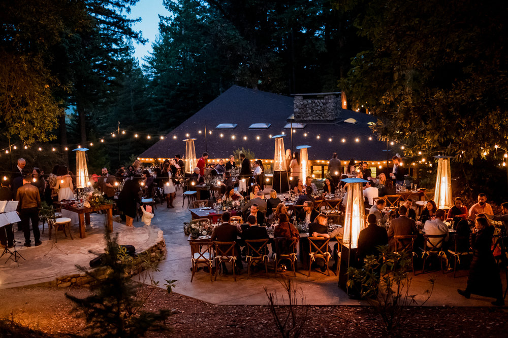 Art & Soul Events, Magical Woodland California Wedding Venue at The Sequoia Retreat Center, Tablescape outdoor dinner under string lights, Nordica Photography