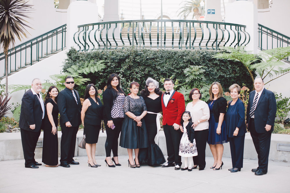Old Hollywood Elopement at the Beverly Hills Civic Center, Art & Soul Events, Evangeline Lane, Black Wedding Dress