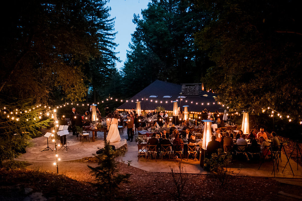 Magical Woodland California Wedding Venue, Sequoia Retreat Center, Art & Soul Events, Nordica Photo, Dinner outside with string lights
