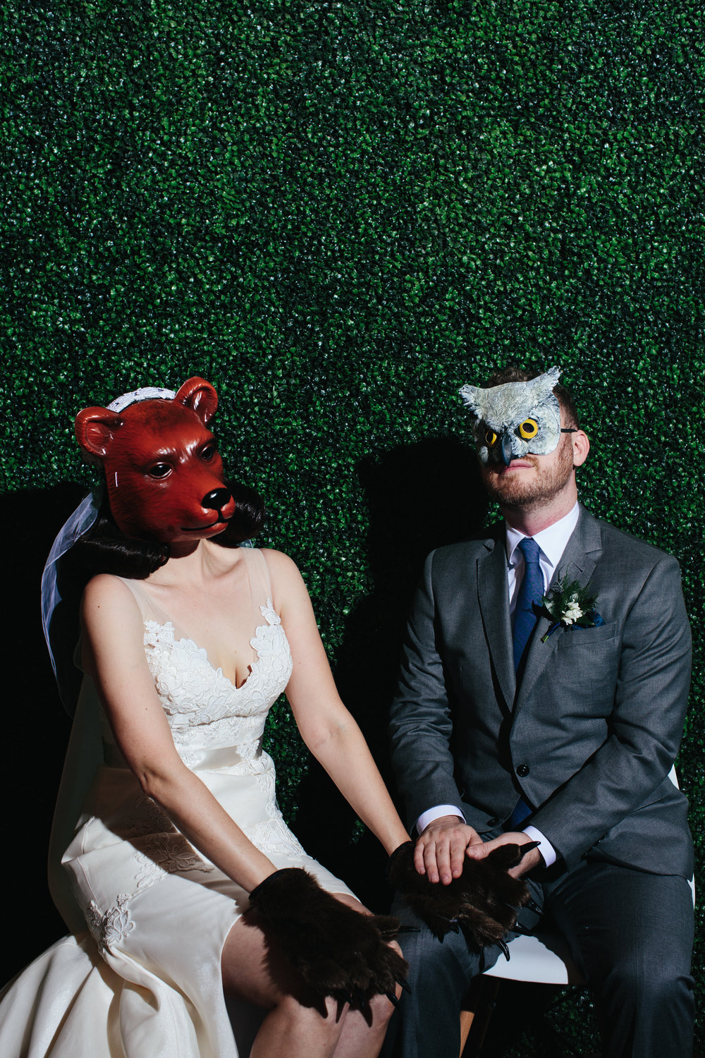 LA River Studios  Industrial Woodland Wedding Animal Mask Photo Booth- Art & Soul Events