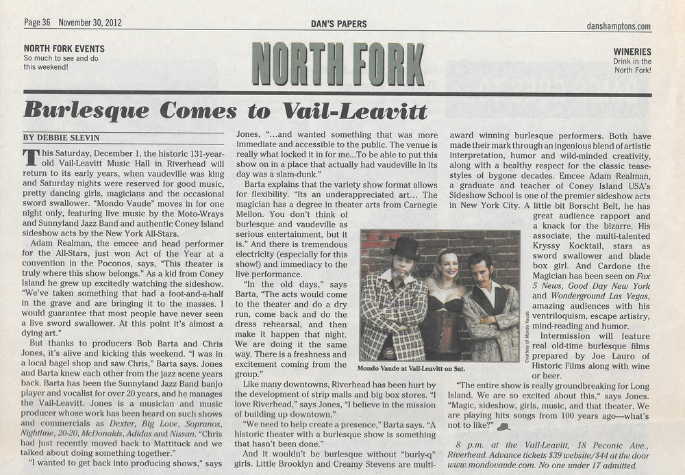 Dan's Papers , Burlesque Comes to Vail-Leavit, November 29, 2012