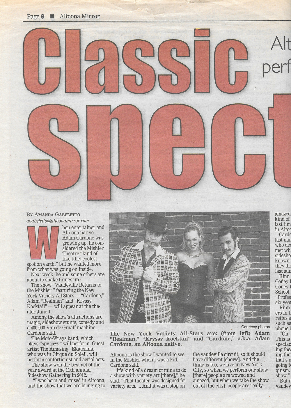 Altoona Mirror, Classic Spectacle, May 24, 2013