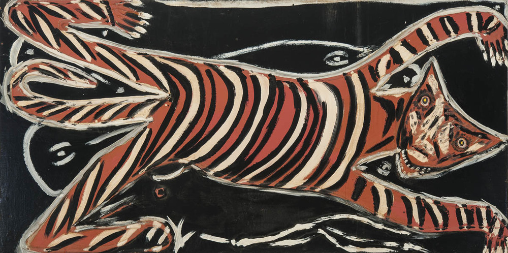 "Thornton Dial ""Flat Cat"", 1988, oil on board, 36' x72"""