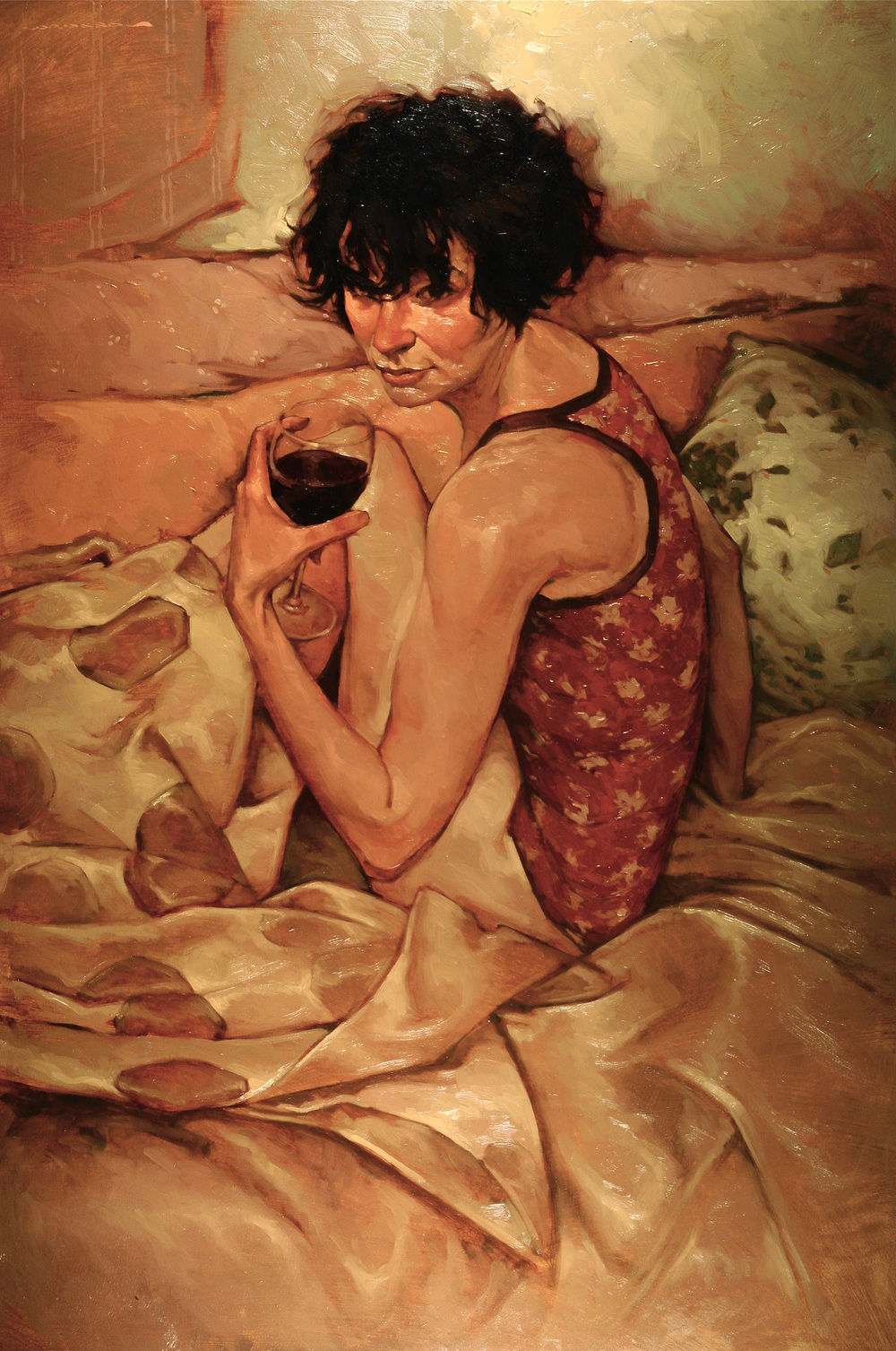 A Glass of Wine Before Bed  36x24 - SOLD