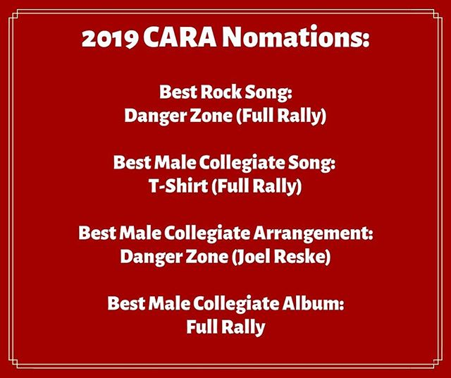 We've been nominated for several CARAs! (Contemporary a cappella Recording Awards) and were thrilled! Here are our nominations:
