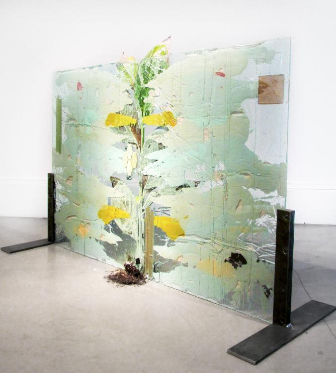 """Subaqueous Canna Pretoria (Rorschach),"" 2013.Plant, resin, paint, ceramic tiles. 58 x 40 inches. Alternate view"