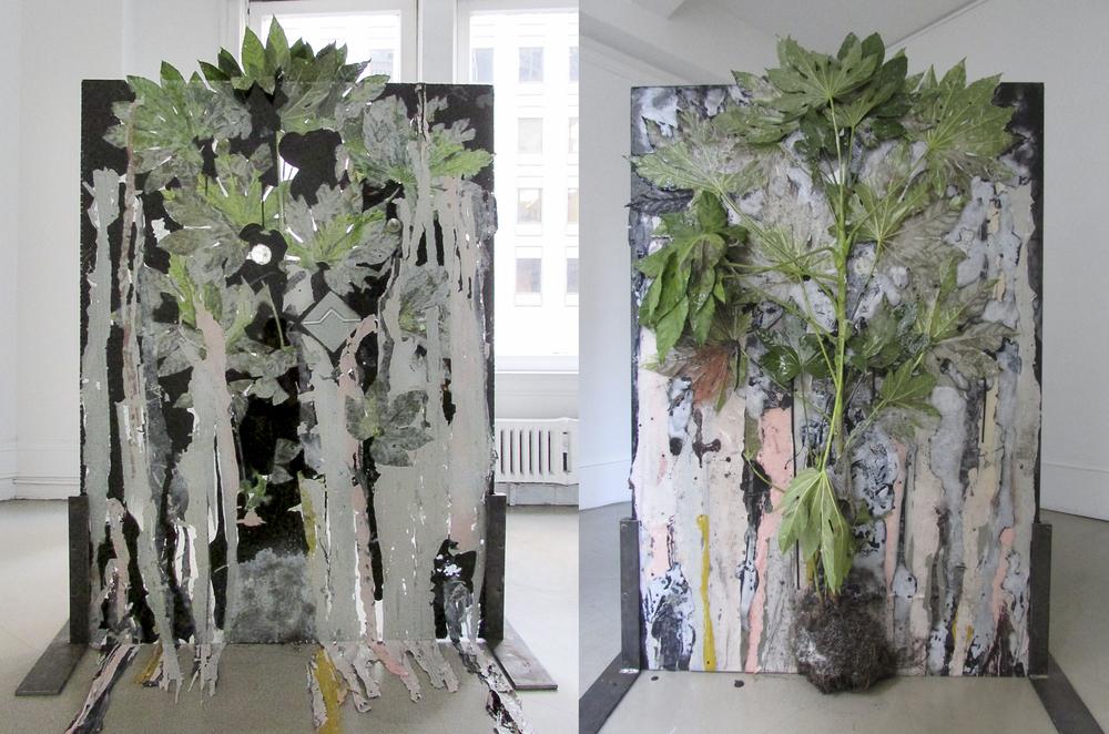 """Dark Matter,"" 2013. Plant, resin, paint, glass, ceramic tiles. 61 x 44 inches"