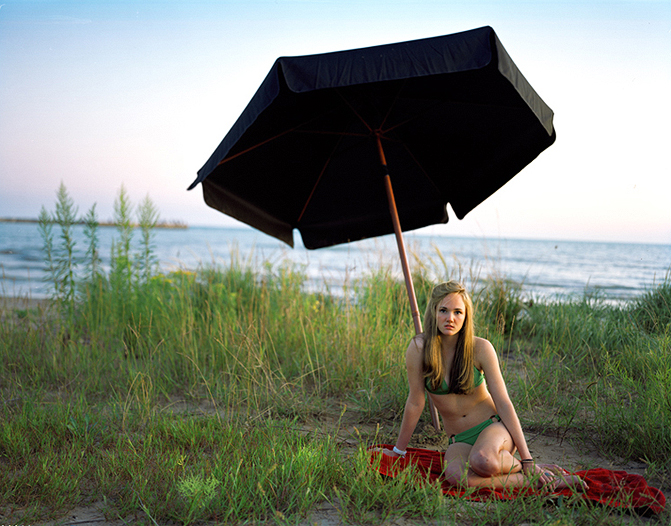 Young Girl Under the Umbrella, Archival Pigment Print, 42 x 52 inches, 2009