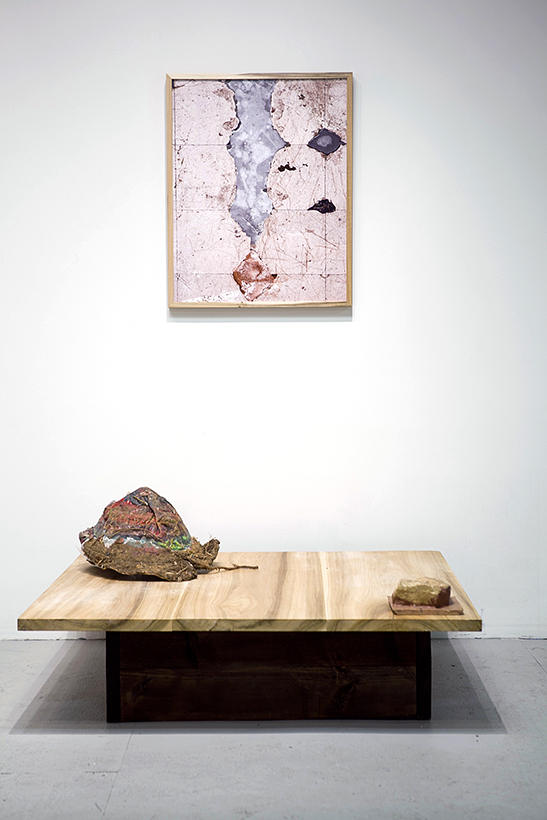 Platform #2 (including wax excavation from Cobra Lilly Mountain and sand stone mold), 2012, Poplar, wax, dirt, plants, rocks, latex 4' x 4' and Studio Floor (from an aerial view over WI), 2012, Archival Pigment Print, 24 x 30 inches