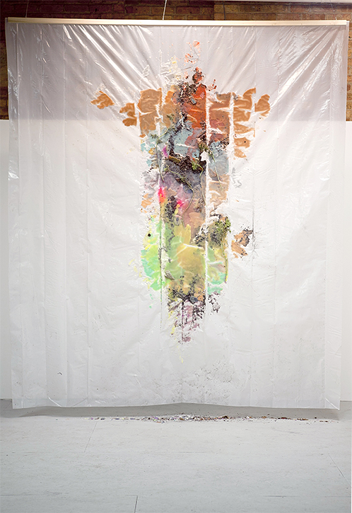 For Protection, Earth and Plants #1, 2012, Plastic tarp, wax, dirt, and Queen Anne's Lace, 9 x 10 feet