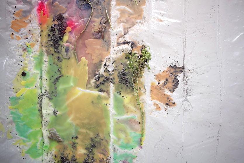 For Protection, Earth and Plants #1, detail,2012, Plastic tarp, wax, dirt, and Queen Anne's Lace, 9 x 10 feet