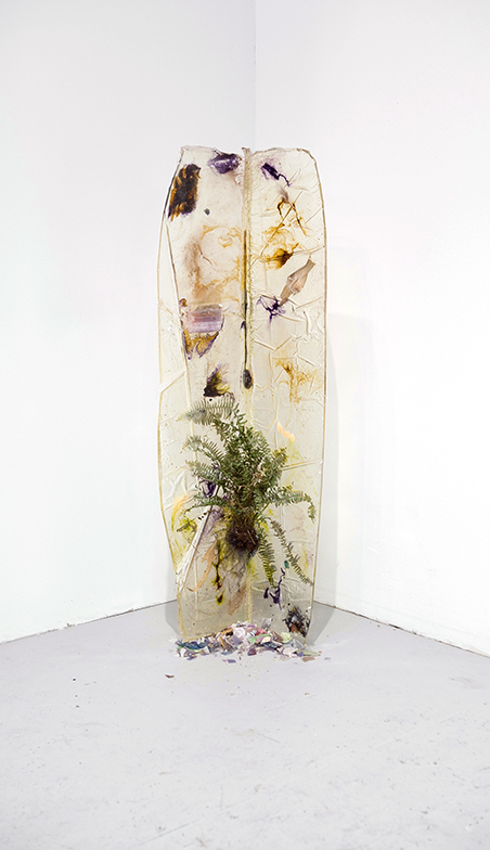 Intersection of Studio Wall andFloor with Fern, 2012, Resin, dyes, fern, and mixed media, 4 x 3 feet