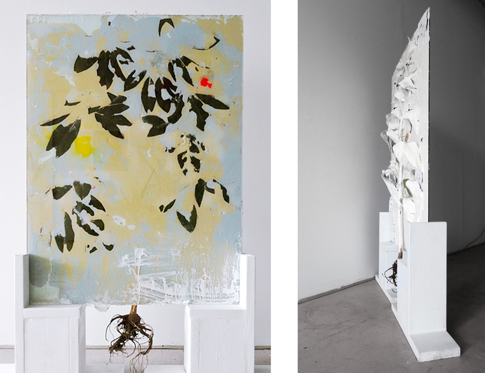 Michael, 2011, Glass, resin, plant, mixed media, 38 x 61 x 7 inches