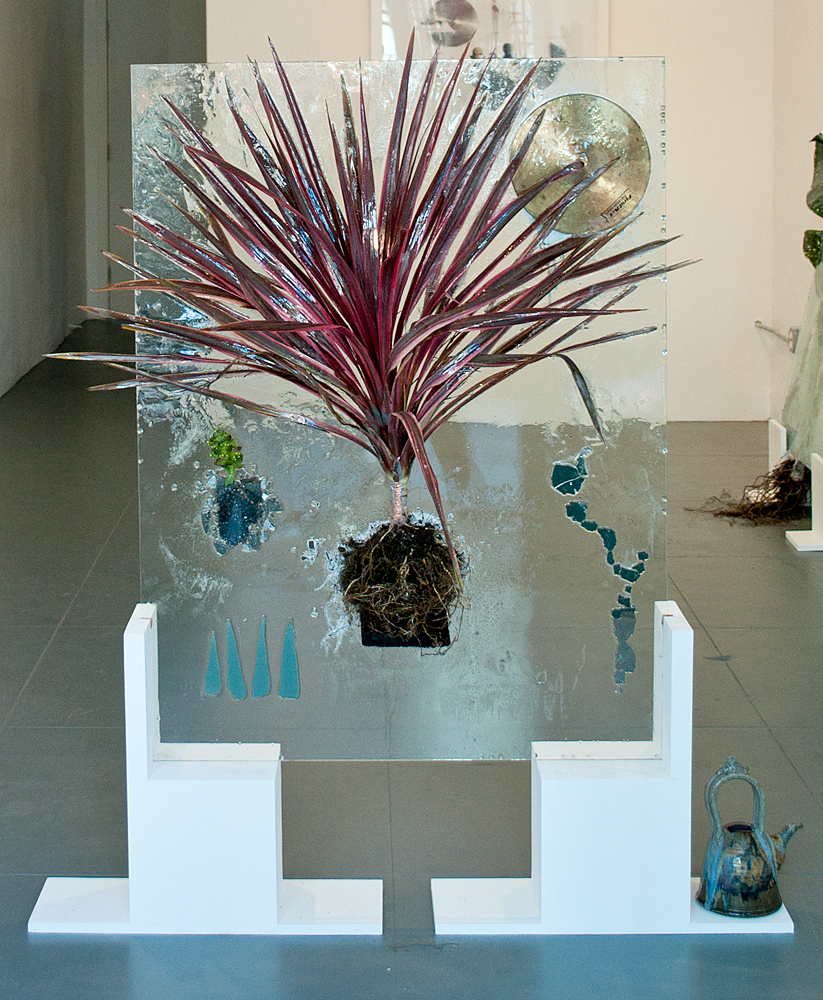 Your Last Breath Before Eternal Life (Cherry Sensation), 2011, Glass, resin, plant, mixed media, 36 x 58 inches
