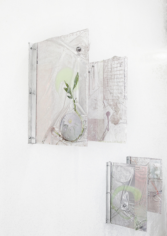 An Altered State (peyote and poppies), uv prints on vinyl, dielectric glass, burner screen, netting, acrylic, ball bearings, bamboo, aluminum braces, 2015