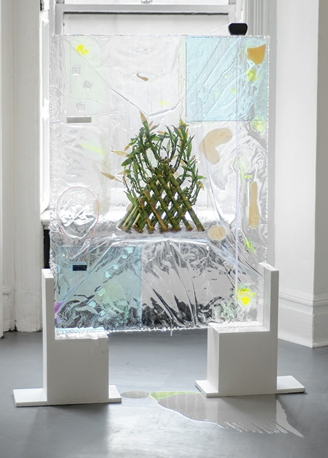 "The Ultimate Preservation, Cryogenics and the Lucky Bamboo, 2015 Annealed glass, resin, di-electric glass, bamboo, acrylic, vinyl, slag glass, rubber glass 36"" x 48"""