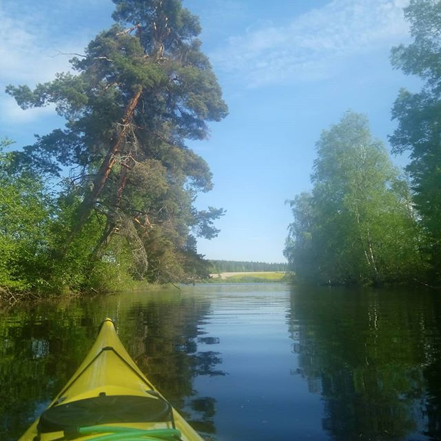 #kayaking in one of #finland's thousands of #lakes. #finland #visitfinland #nature #naturelovers #outdoors #outdoorslife #adventure #kayak #water #yellow #landscape #youradventureofthelifetimebeginstoday #adventureapes