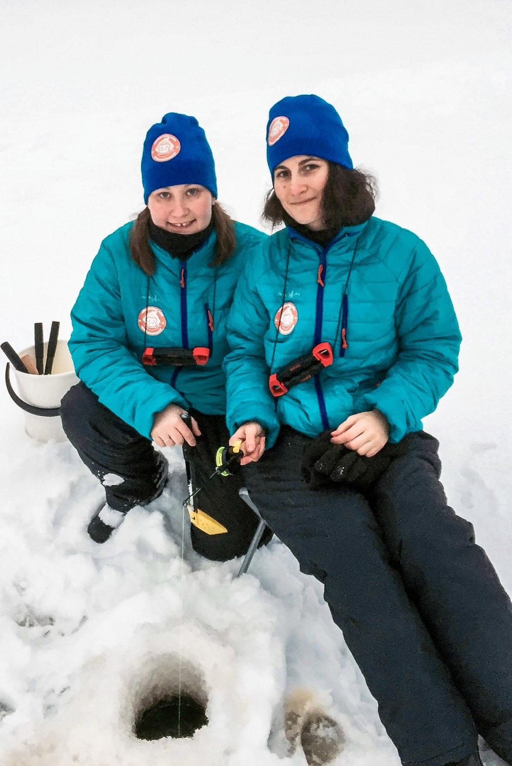 Ice fishing on frozen Finnish lakes