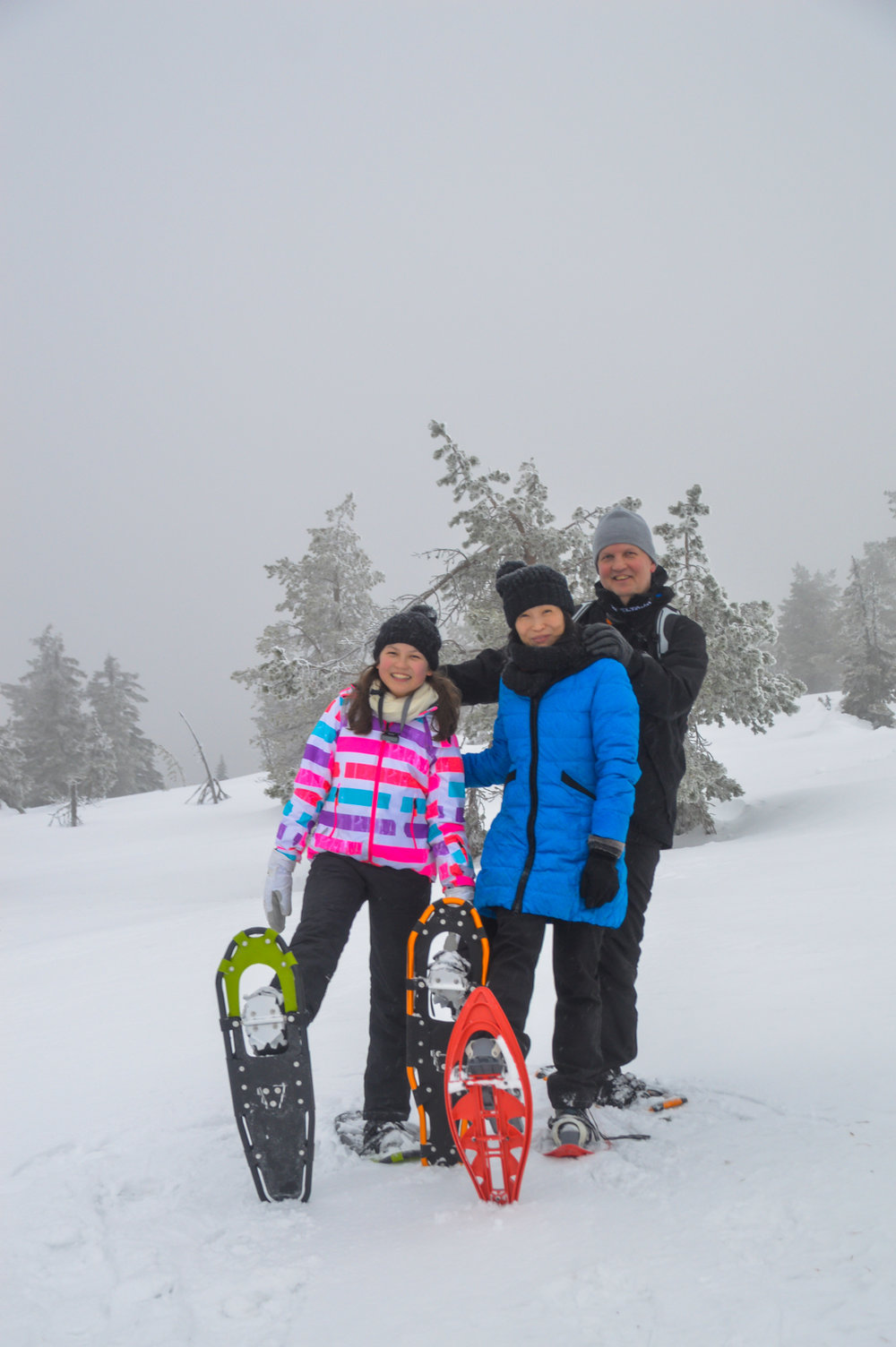 Family snowshoeing adventure