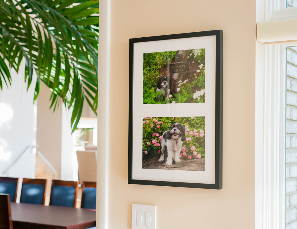 Here is his framed portraits on the wall