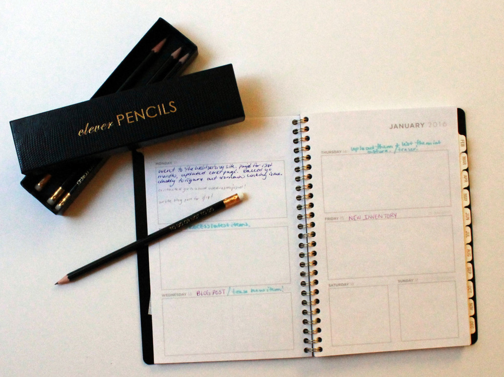 Pencils by Sloane Stationary; Cambridge Edition planner: Target.