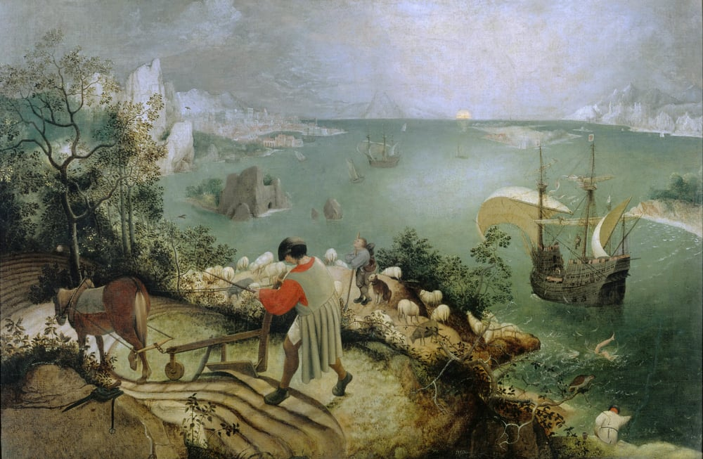 """Landscape with the Fall of Icarus"" by Pieter Brueghel (1526/1530-1569) [Public Domain]; via Wikimedia Commons"