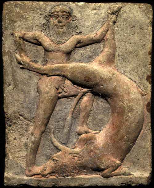 Gilgamesh and the Bull of Heaven by U0045269 (Own work); Royal Museums of Art and History, Brussels; December 10, 2015; via Wikimedia Commons