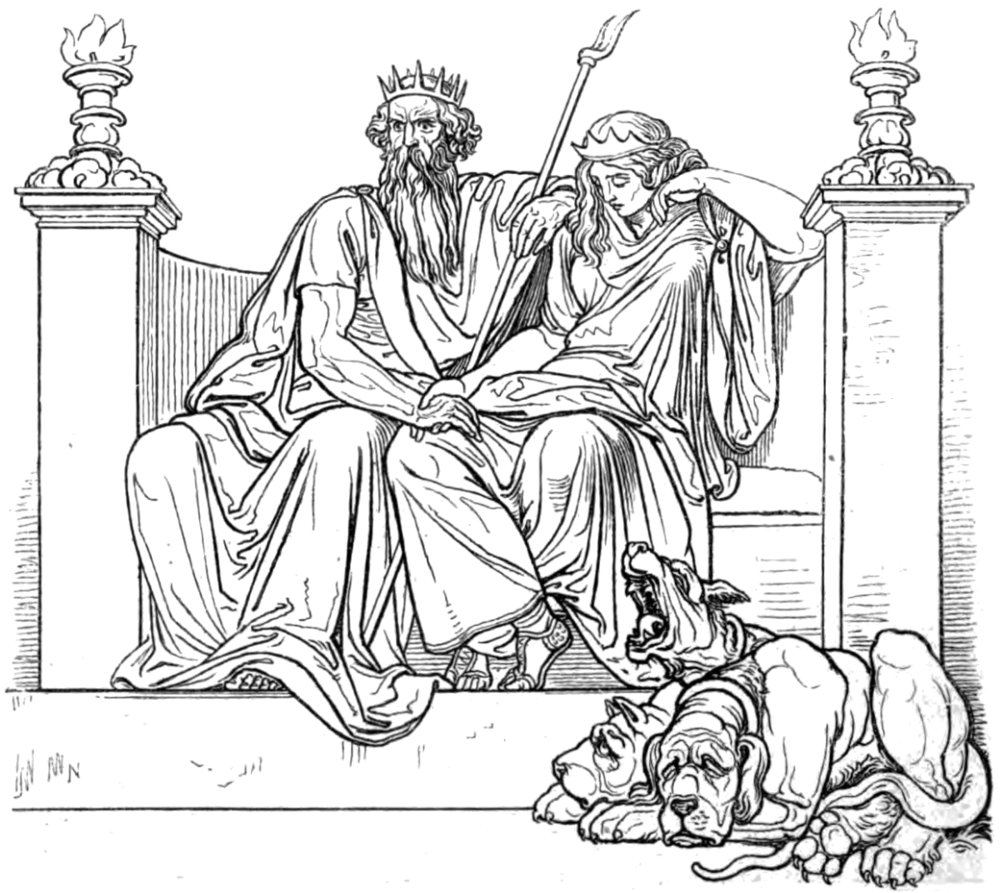 Hades (Pluton) depicted sitting on the left holding a bident in his left hand, next to Persephone seated below. By Publisher: Eduard Trewendt, Atelier für Holzschnittkunst von August Gaber in Dresden, January 1864 [Public domain], via Wikimedia Commons