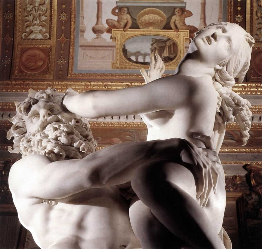 The Rape of Proserpina sculpture by Bernini in the Galleria Borghese. Photo taken by Int3gr4te on 01/20/07; via Wikimedia Commons
