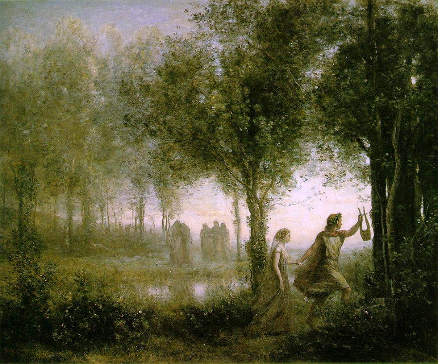 Orpheus Leading Eurydice from the Underworld by Jean-Baptiste-Camille Corot (1796-1875) [Public domain], via Wikimedia Commons