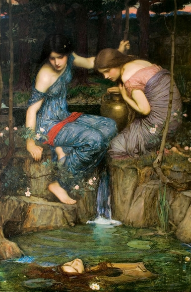 Nymphs Finding the Head of Orpheus (1900) by John William Waterhouse [Public domain], via Wikimedia Commons