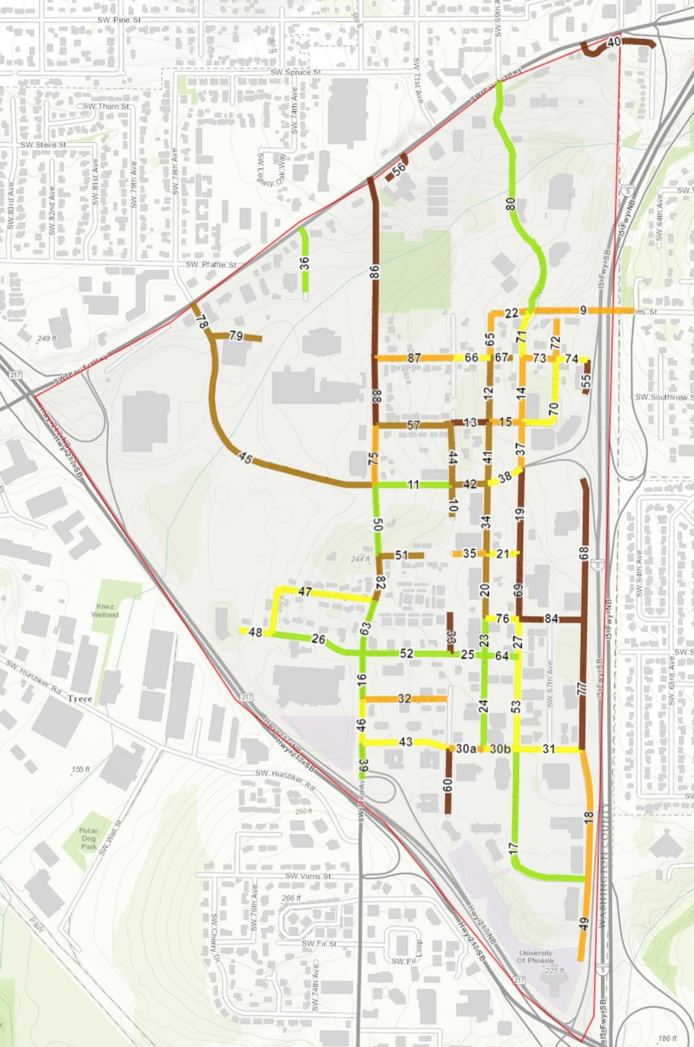Data collection map for Tigard Triangle