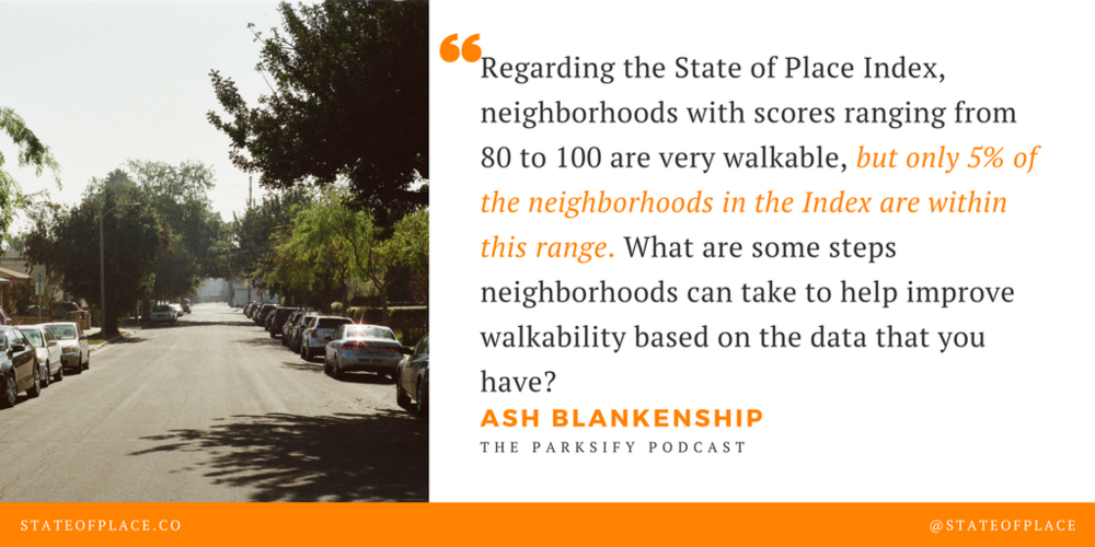 Regarding the State of Place Index, neighborhoods with scores ranging from 80 to 100 are very walkable, but only 5% of the neighborhoods in the Index are within this range. What are some steps neighborhoods can take  (1).png