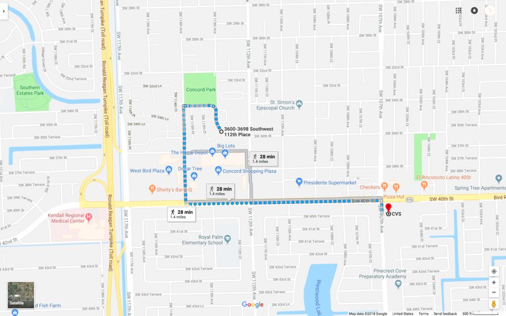 Miami walk - Scale 500ft