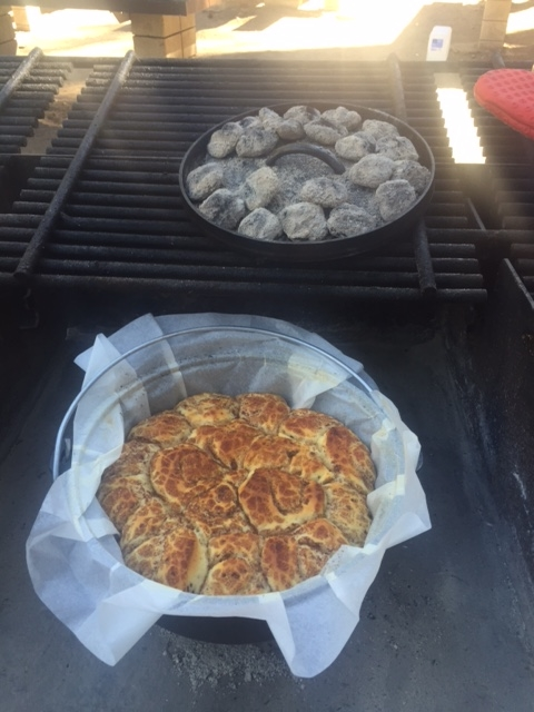 Cinnamon Rolls baked in Dutch Oven.