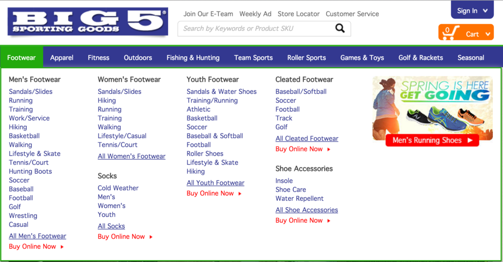 Current design of Big 5 Sporting Good's global and local navigation.