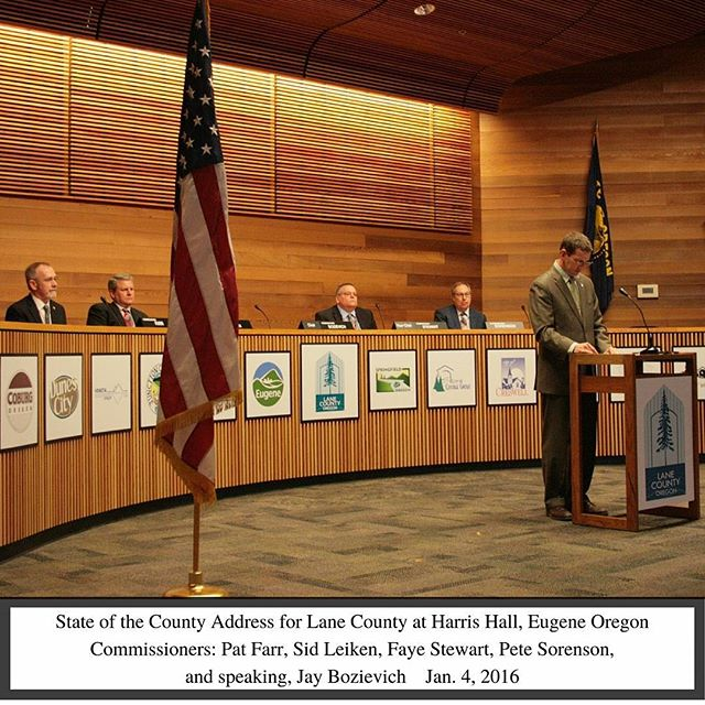 Lane County's State of the County Address. With Commissioners: Pat Farr, Sid Leiken, Faye Stewart, Pete Sorenson, and Jay Bozievich (speaking). Read more at: http://goo.gl/cqAv5S #stateofthecounty #lanecounty #politicalspeeches