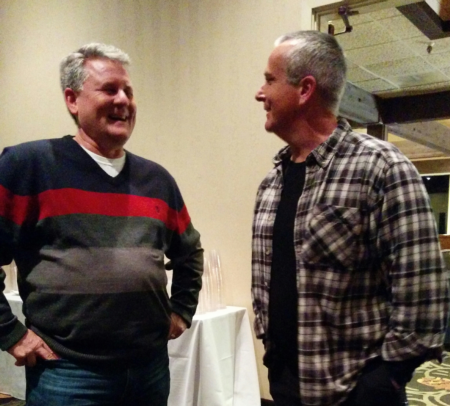 Photo: Sid with Juan Yraguen,owner of Basco Logging,at the Association of Oregon Loggers convention.