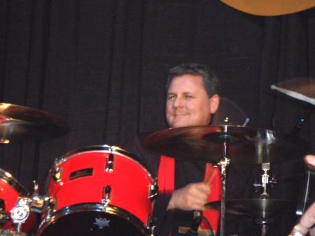 Photo: Sid, who loves music,playing the drums.