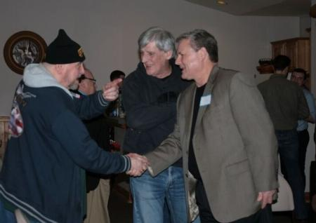 Photo: Sid shaking hands with those attending the Benton County Candidate Forum.