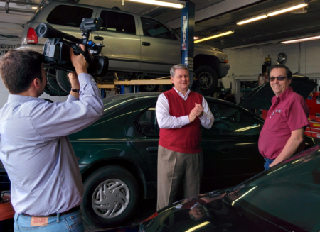 Photo: Sid at the video shoot with John Eisel Jr. at J&K Automotive Repair.