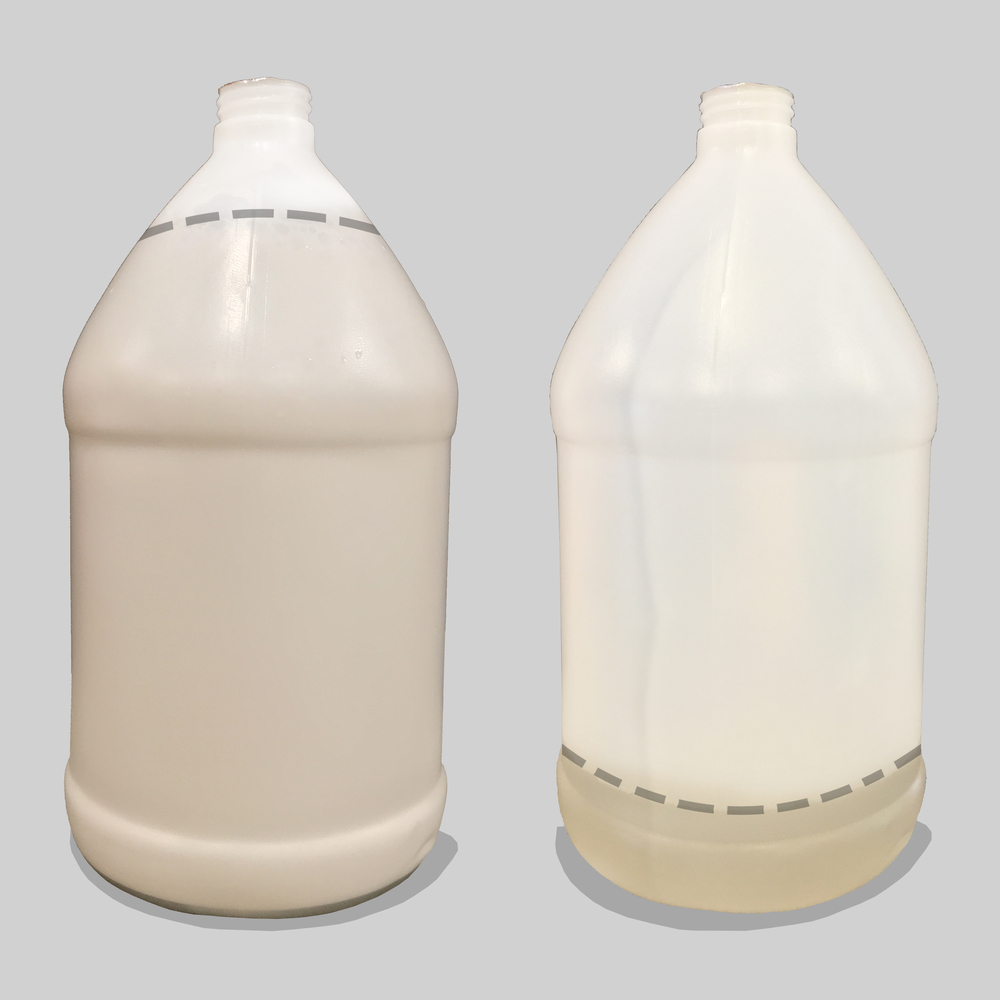 left : Gallon of foam  Right: Small amount of water left behind
