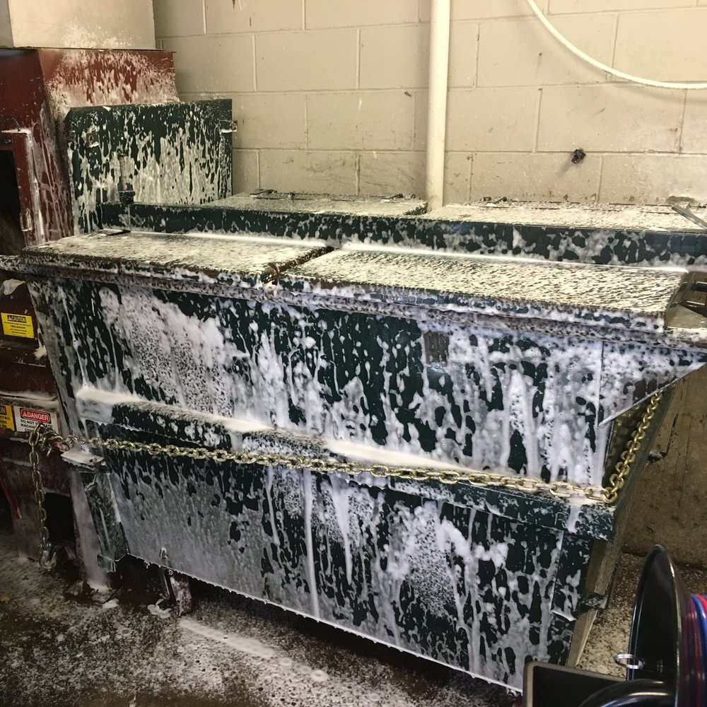 foam on dumpster