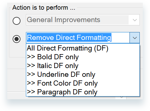 Remove Direct Formatting drop down menus options