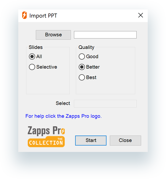 Import PPT dialog box
