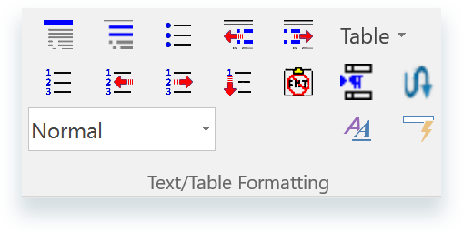 Text and Table Formatting Buttons