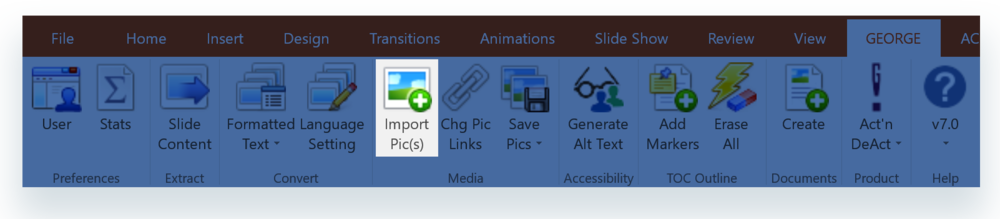 Import Pics button on george! ribbon in PowerPoint